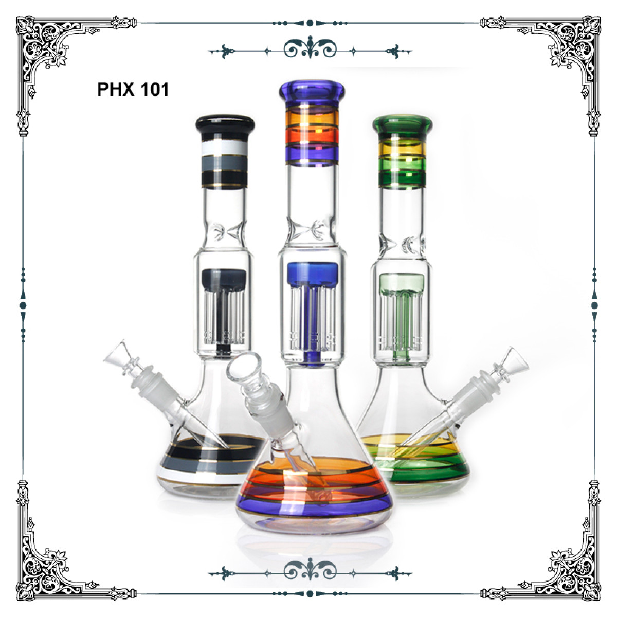 12 inches Colorful Six Arms Perc Bong