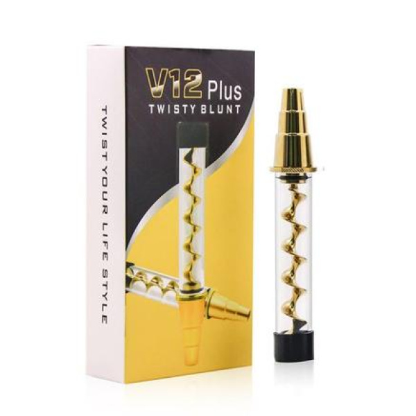 Airistech V12 Plus Twisty Glass Blunt Gold